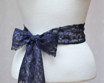 Navy Lace Wedding Simple Sash/ Flower Girl Sash/ Handmade Accessory