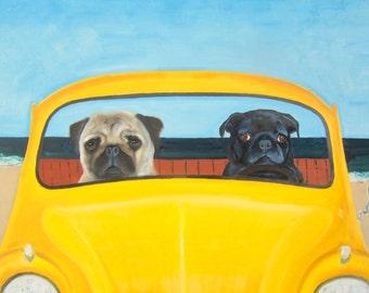 "Pug Art Print of an original oil painting - ""Joy Riders""   11 x 14 - Dog Art"