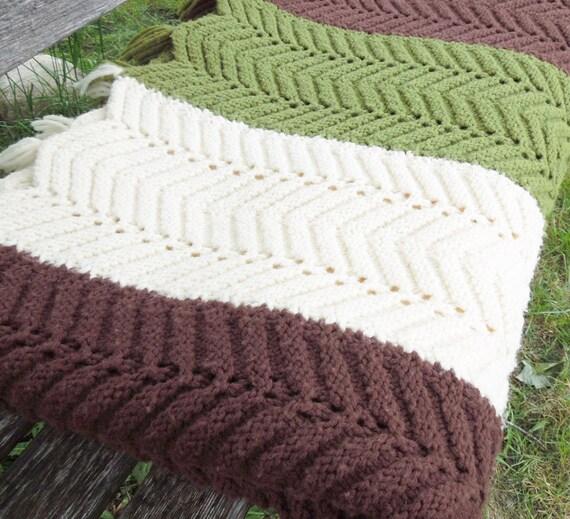 Vintage Brown Green White Stripes Crochet Blanket Afghan Throw