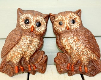 1970s retro owl wall plaques. Pair of two