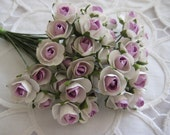 Lilac / Light Purple, White Two Tones Paper Roses with Green Leaves for Party Favors, Card Making,Crafting, 1/2 inch Wide, 36 Rose Buds
