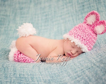 Baby Girl Hat - Baby Bunny Hat with  Leg Warmers and fluffy tail.