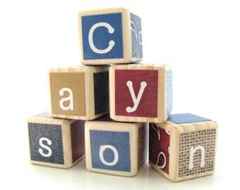 Personalized Wood Blocks. Cowboy. Western. Wood Baby Blocks. Baby Shower Decoration. Boy. Country Nursery Decor. Cowboy Nursery.
