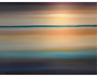 PAINTING Large Seascape Sunset 30x40 Ready to Hang Handmade Acrylic Art By Thomas John