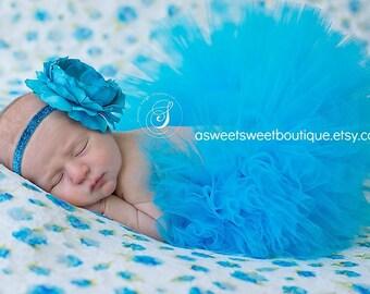 Sweet Ocean Jewel Tutu Blue Newborn Tutu Custom Made With Matching Vintage Style Flower Headband Stunning Newborn Photo Prop