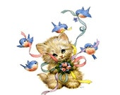 1 1/2 Fabric Cat Button - Kitty Kite Flying Blue Birds Baby Robins Swallows Spring Ribbon Mothers Day For Her Baby Shower Minimal
