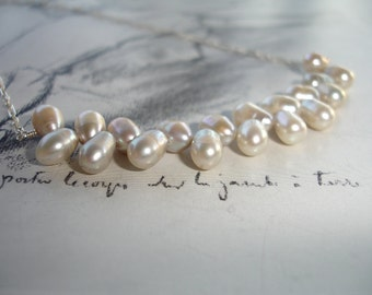 Silvery White Freshwater Pearl Necklace, Sterling Silver, Elegant, Modern, Bridal, Wedding