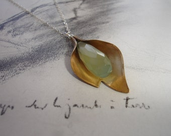 Flower Chalcedony and Vintage Brass Petal Pendant Necklace, Sterling Silver, Prehnite, Romantic, Unique Design, Organic