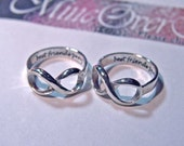 Infinity rings, personalized rings, stacking rings, BEST FRIEND rings, figure eight ring, message for TWO, couples ring, rings for her,