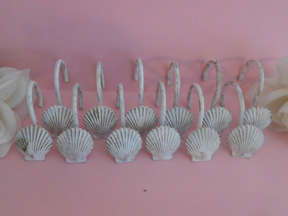 seashell shower curtain hook set 12 shabby chic by