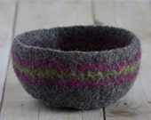 Felted Bowl - Grey with Fuchsia & Lime Stripes