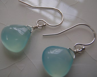 Free Shipping - Smooth Aqua Chalcedony Pear/Briolette Drop and Sterling Silver Dangle Earrings