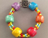 "Daughter / Best Friend Gift - READY TO SHIP - ""Color Wheel"" unique beaded bracelet"