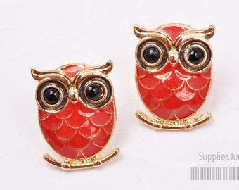 SALE!!! E181-G-RE// Gold Plated Lovely Red Epoxy Owl Earring Post, 2pcs