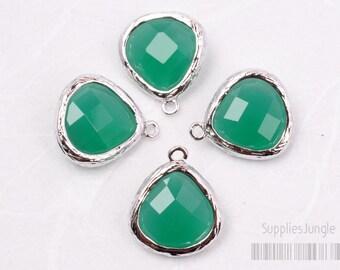 F100-S-GR// Rhodium Framed Green Faceted Glass Stone Pendant, 2 pcs