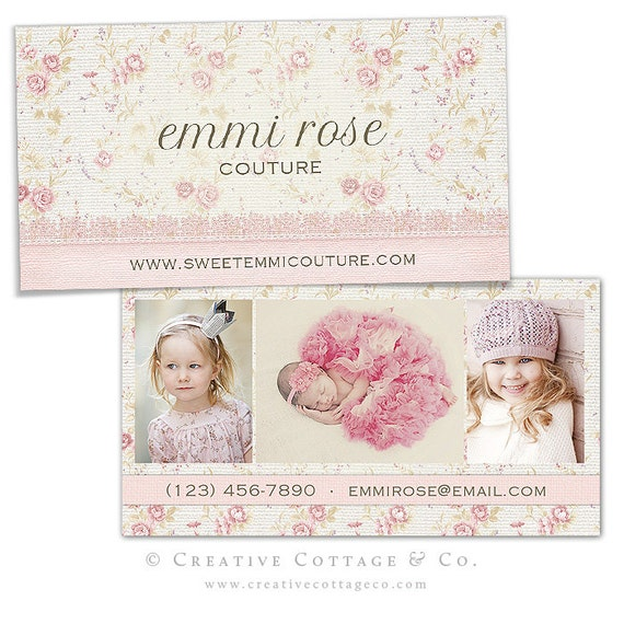 Sweet Reverie- Shabby Floral Linen Business Card Template PSD file, WHCC Spec