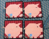 Pig Coaster set of 4 - yarn worked on plastic canvas SALE