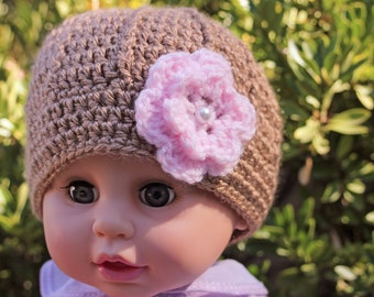 Hat  Baby Infant Girl  brown with pink flower  Crochet