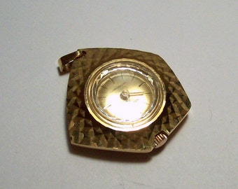 Gold Plated watch Pendant - Upcycle - Steampunk - (1)