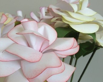 Medium paper roses-paper flowers for bouquet, party and wedding decor-set of 6, you choose the colour