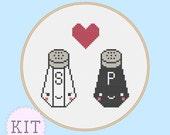 Cross Stitch KIT Cute Salt and Pepper Love