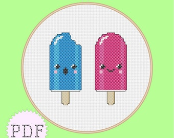 INSTANT DOWNLOAD PDF Cross Stitch Pattern Cute Popsicles