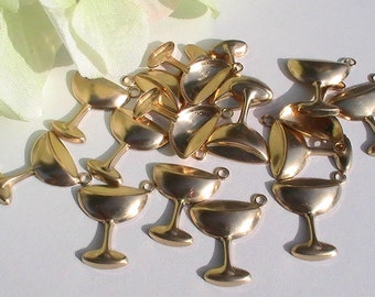 Champagne Glass Charm Brass Stamping Jewelry Supplies Jewelry Making Supplies Mixed Media DIY Supplies Charms 8pcs