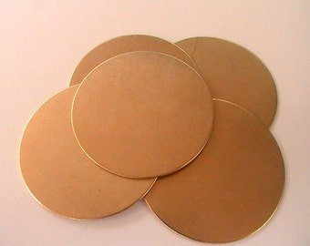Brass Blanks, Unplated, Circle Blank, Raw Brass Stamping, Supplies, Findings,35mm, Assemblage, Jewelry Making, Mixed Media, Collage (6pc)