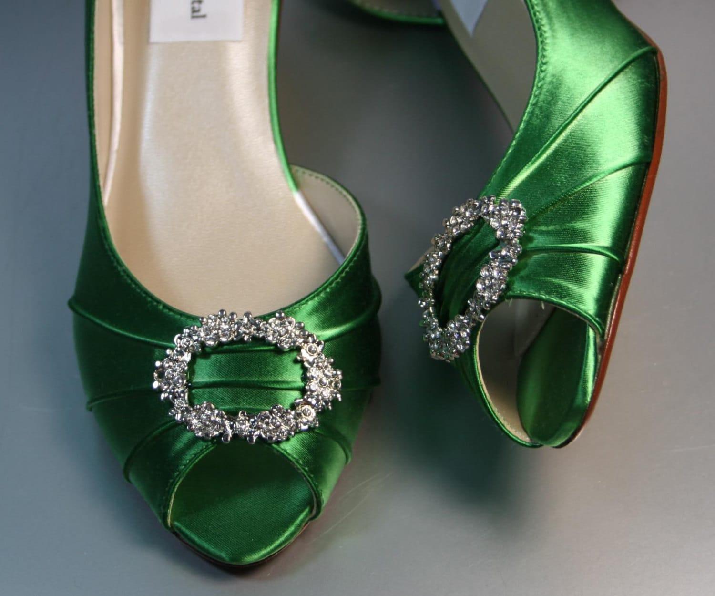SAMPLE SALE Wedding Shoes Emerald Green Peeptoes with