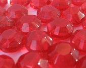 Vintage Salvaged recycled ruby color faceted glass beads  lot of  24pcs Code Z114