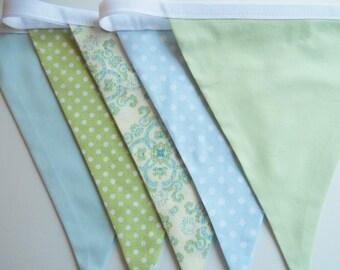 SALE Blue Green Boys Bunting Fabric Flags Banner - Birthday Decoration,Nursery Decor, Baby Shower, Photo Prop