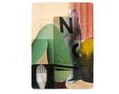 original ACEO collage, anatomy  --  conceptual pop art -- altered photography / xray -- mint green, pink, chartreuse, sepia, hand