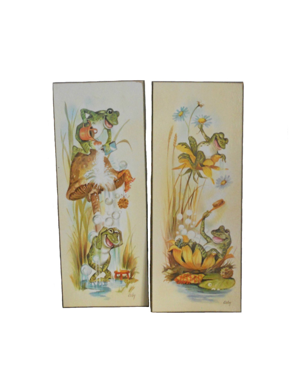 Vintage wall art bathing frogs bathroom plaques by coby for Retro wall art