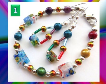 COLOR SPLASH- Beaded Bracelet and Earrings Set- Millefiore and Resin Beads with Silver Plated Spacers