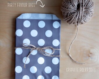 Grey Polka Dot Party Favour Bags - 5 x 7 inch Favor Gift Bag - Packet of 12