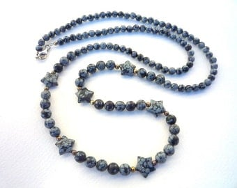 Gemstone necklace, long beaded necklace, Black and white gemstone necklace, Snowflake Obsidian necklace, Star necklace, long necklace.