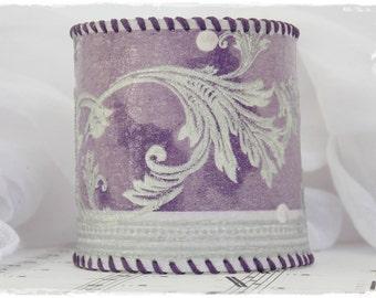 Leather Cuff Bracelet, Decoupage Bracelet, Corset Bracelet With Silver Swirls, Pastel Purple Bracelet, Pastel Bracelet, Silver Swirl Cuff
