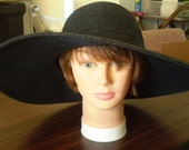 "RESERVED for Krissy  Magid Hats Black Parasisal Straw hat 4 3/4"" Butterfly and Black Trim 22"""
