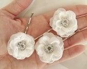 Set of 3 - Garden Wedding White Bridal Hair Flower Petite Roses- Rhinestone Center- Bobby Pins