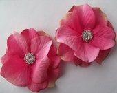 Wedding Hair Flowers - Bridal Double Hydrangea Blossoms  - Rhinestone Centers - small  Alligator Clips - Romantic and Dainty - hot pink
