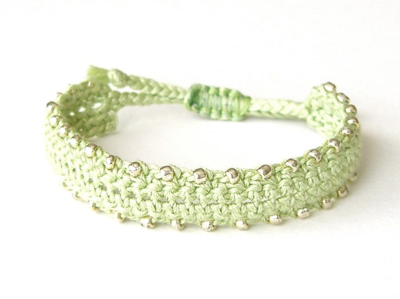 Hipster friendship bracelet, BFF bracelet in spring green, crochet bracelet with adjustable knot & silver plated heart tag 'Made with Love'