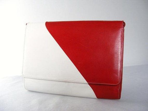 Charles Jourdan Bag Red White Clutch Handbag Purse Crossbody