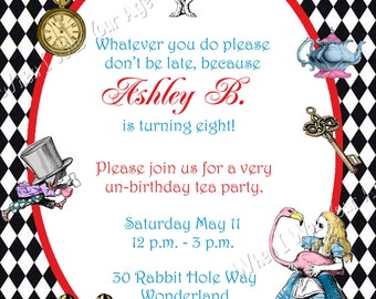 Alice in Wonderland Party Printable Invitation