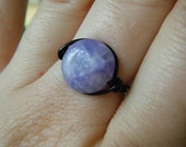 Amethyst Wire Wrapped Ring - Black, Silver, non Tarnish Brass - Purple Gemstone