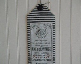 Tassel Knob Hanger Lamp Hanger Antique French Print Country Door Hanger Black White  Wall Hanging Home Decor Folk Art Banner Primitive Art