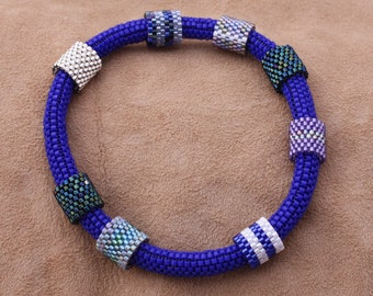 Blue Beaded Bangle Bracelet