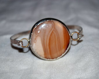 One - Australian Mookaite Sterling Silver and Gold Bracelet