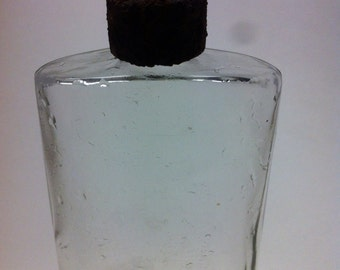 Perfume Bottle Antique clear glass bottle perfume flask rusted cover