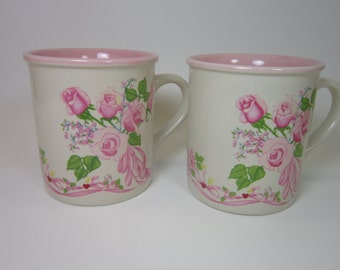 Vintage mugs potpourri press white mug  Mugs hearts pink roses vintage hearts 1987 heart mugs Gift for her 8 oz
