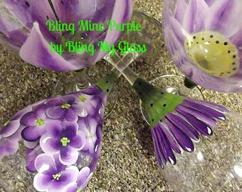 Bling Mine Purple Wine Glasses (set of four)